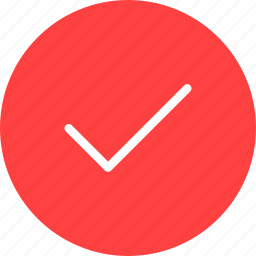 accept, check, circle, ok, red, success icon