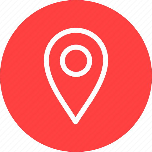 circle, gps, location, map, navigation, pin, red icon