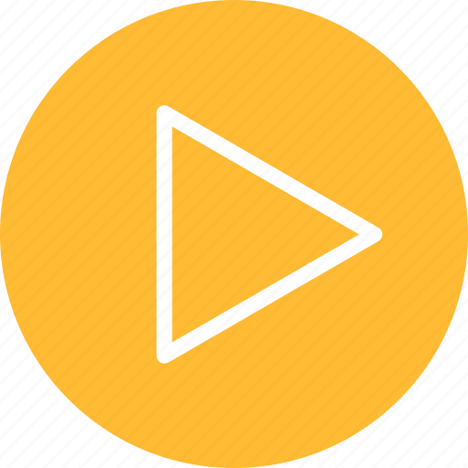 circle, movie, next, play, start, video, yellow icon