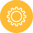 circle, gear, options, preferences, settings, yellow icon