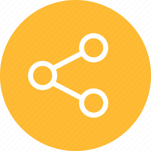 circle, media, network, share, social, yellow icon