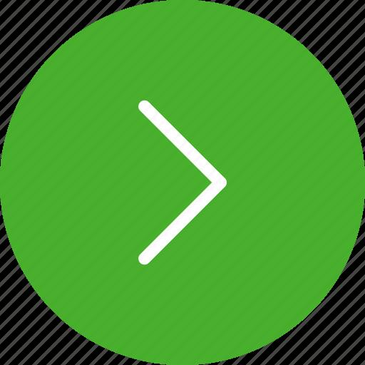 arrow, arrows, circle, direction, green, next, right icon