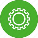 circle, gear, green, options, preferences, settings icon