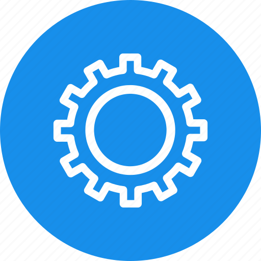 blue, circle, gear, options, preferences, settings icon