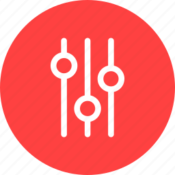 circle, options, preferences, red, settings icon