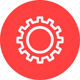 circle, gear, options, preferences, red, settings icon