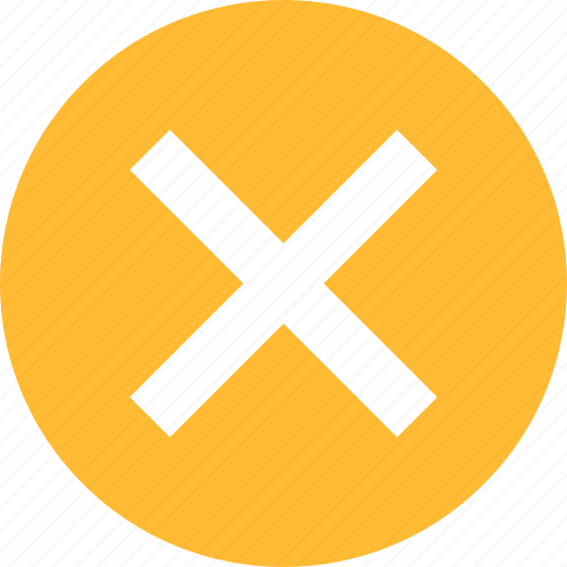Cancel, close, delete, exit, stop, yellow icon - Download on Iconfinder