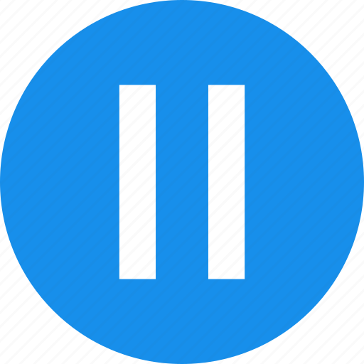 blue, circle, media, pause, player icon