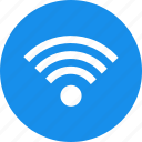 blue, circle, internet, network, signal, wifi icon