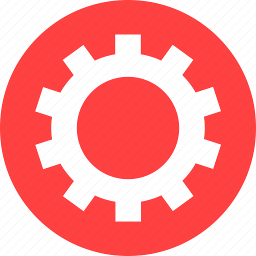 circle, cog, customize, gear, preferences, red icon