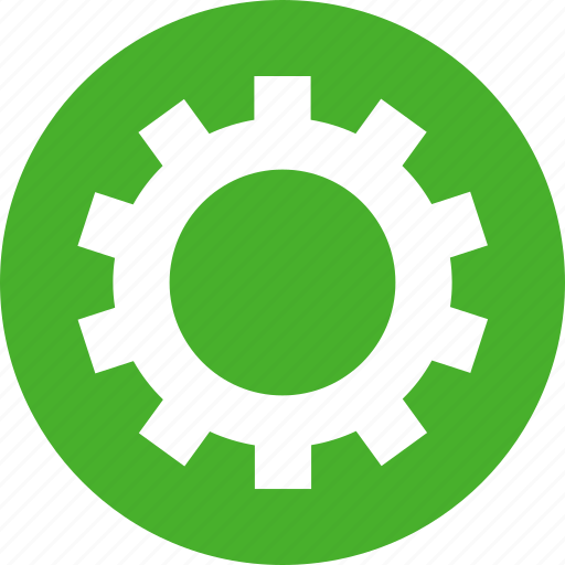 circle, cog, customize, gear, green, preferences icon