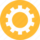 circle, cog, customize, gear, preferences, yellow icon