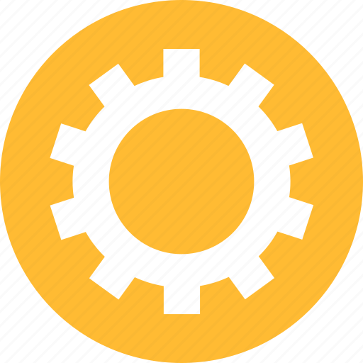 circle, cog, customize, gear, preferences, yellow icon
