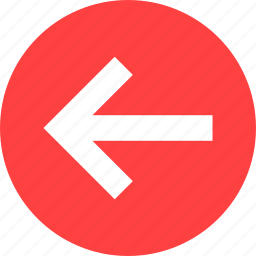 arrow, circle, direction, left, previous, red, west icon