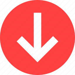 arrow, circle, descend, down, downward, red icon