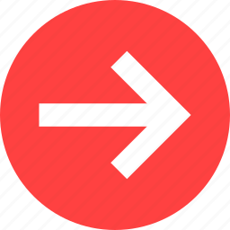 arrow, circle, east, forward, next, red, right icon