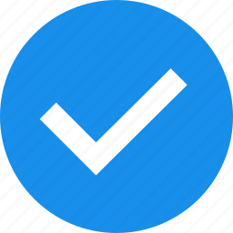 approved, blue, check, checkbox, circle, confirm icon