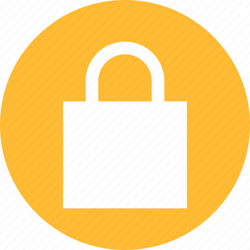 circle, lock, privacy, safe, secure, security, yellow icon