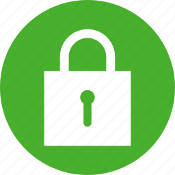 circle, green, lock, privacy, safe, secure, security icon