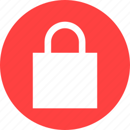 circle, lock, privacy, red, safe, secure, security icon