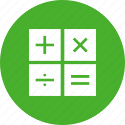 accountant, accounting, calculate,calculation, circle, green icon