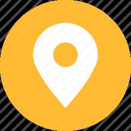 address, circle, location, map, marker, yellow icon
