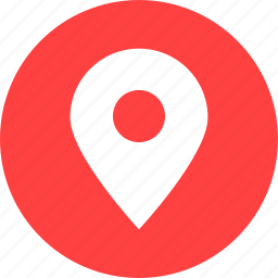 address, circle, location, map, marker, red icon