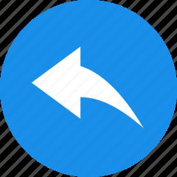 arrow, blue, circle, previous, reply, respond icon