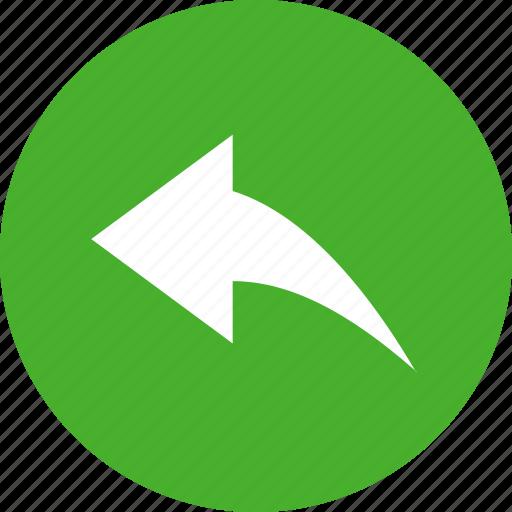 arrow, circle, green, previous, reply, respond icon