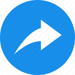 arrow, blue, circle, next, reply, respond icon