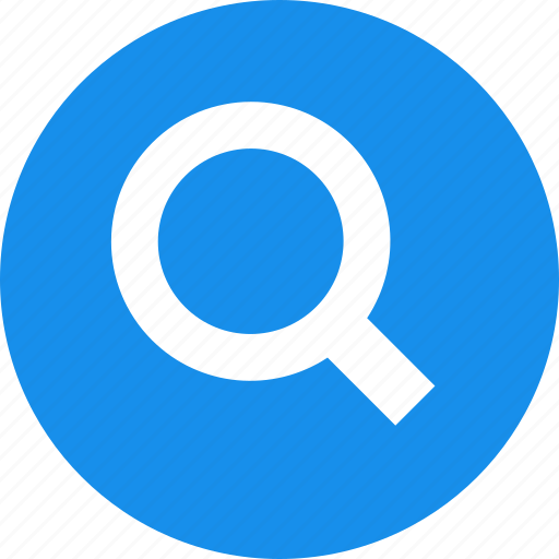 blue, circle, find, glass, magnifying, search icon