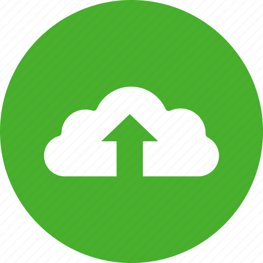 backup, circle, cloud, ftp, green, storage, upload icon