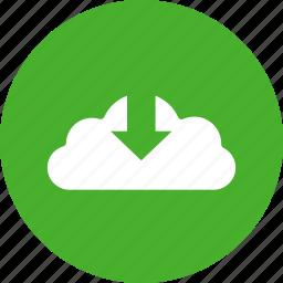 arrow, circle, control, down, download, green, save icon