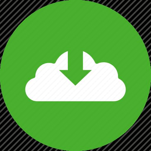 arrow, circle, control, down, download, green, guardar, save icon