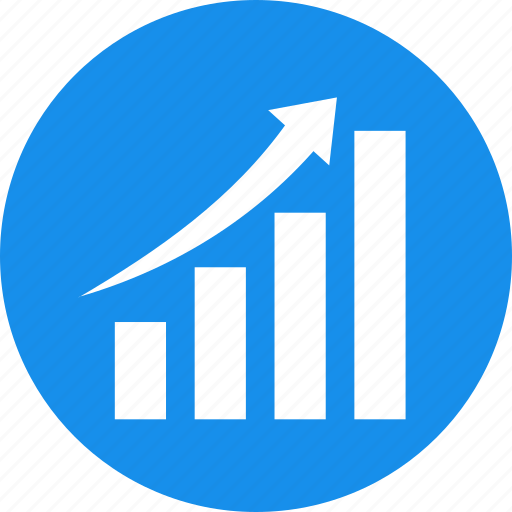 blue, chart, circle, graph, revenue growth icon
