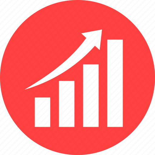 chart, circle, graph, red, revenue growth icon