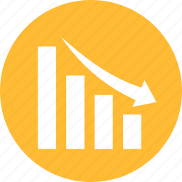 analytics, circle, decline, down, financial graph, yellow icon