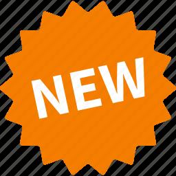 badge, burst, label, new, orange, product, sticker icon