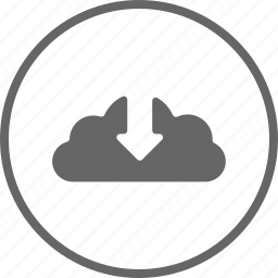 arrow, cloud, control, down, download icon