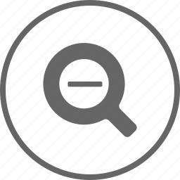 glass, magnifying, out, zoom icon