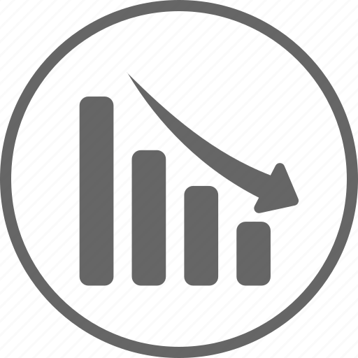 analytics, circle, decline, down, financial graph icon