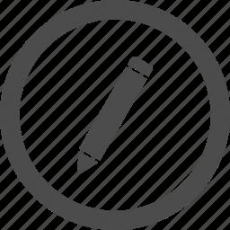 circle, compose, draw, edit, pencil, writing icon