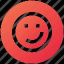 emoji, face, happy, network, social, wink icon