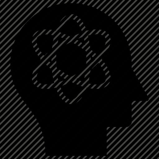 atom brain, human head, innovative mind, inspiration, scientific mind icon