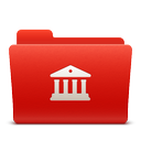 folder, library, new, red, soda icon
