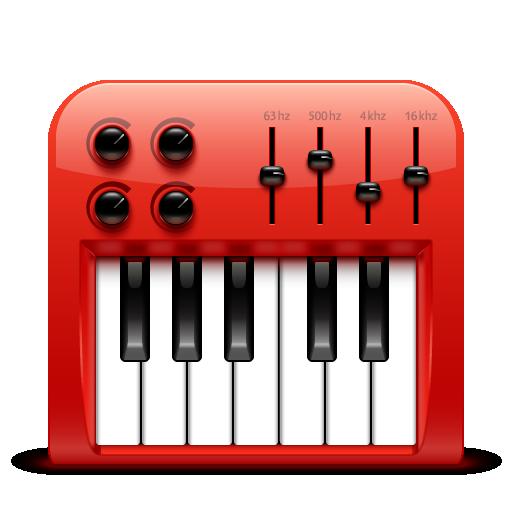 audio, midi, red, soda icon