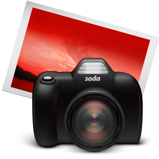 iphoto, red, soda icon