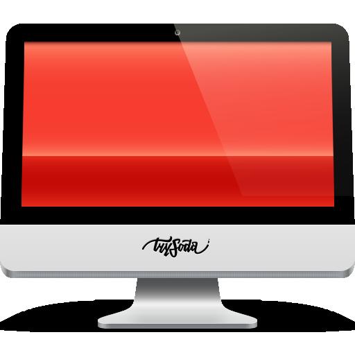 imac, red, soda icon