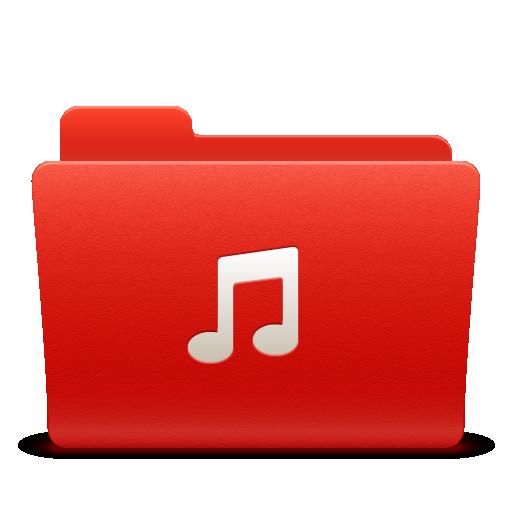 folder, music, new, red, soda icon