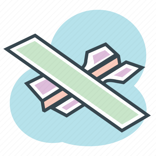 Fly, avion, papel, plane, paper, airplane, children icon